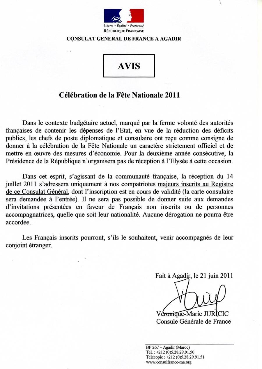 avis du consulat g u00e9n u00e9ral de france  u00e0 agadir