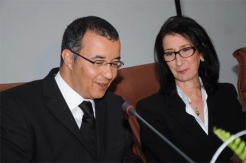 Fouad Douiri, ministre de l'Énergie, des mines, de l'eau et de l'environnement, et Amina Benkhadra, directrice générale de l'Office national des hydrocarbures et des mines marocain. /DR