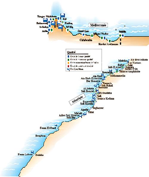Source: Ministère de l'Energie, des Mines, de l'Eau et de l'Environnement Sur les 360 stations ayant fait l'objet de prélèvements, près de 350 sont de qualité microbiologique conforme à la baignade. Les 10 autres constituent des points noirs, à l'instar de certaines plages comme Zenata et Nahla à Casablanca