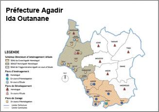 Ci-dessus, le schéma directeur urbain tel qu'il était en 2011. En 2 ans, ce sont 400 millions de DH qui ont été investis dans la mise à niveau de la ville d'Agadir. L'opération de lifting et d'équipement des quartiers devrait se terminer dans un an