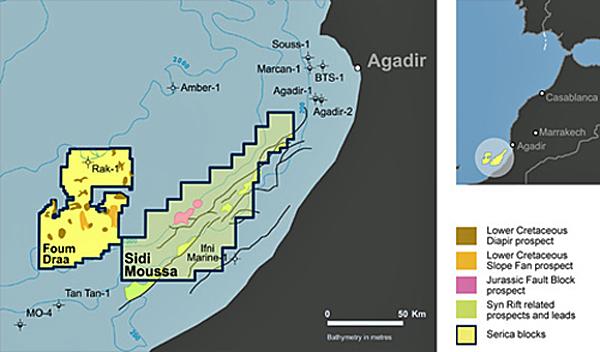 CAIRN ENERGY Plc, à travers sa filiale Capricorn, San Leon, Serica et Longreach, tous partenaires de l'Office national des hydrocarbures et des mines, ont annoncé le démarrage du puits d'exploration FD1, situé dans l'offshore marocain, entre Agadir et Sidi Ifni, à 93 Km des côtes marocaines. /DR