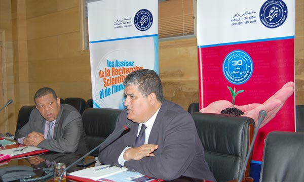 Le président de l'Université Ibn Zohr d'Agadir, Omar Halli animant un point de presse. Ph : MAP