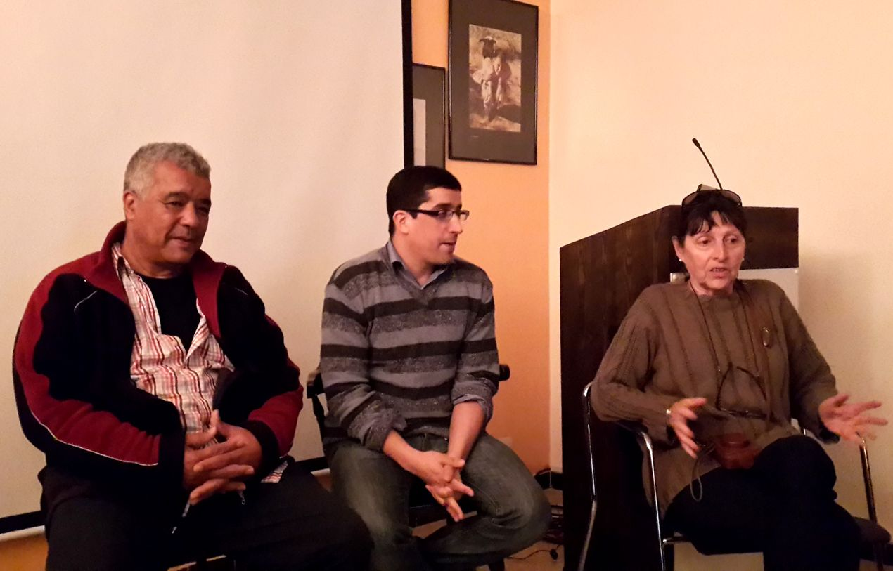 "Larbi Babahadi, Brahim Amzil et Marie-France Dartois, auteure de ""Agadir et le Sud Marocain"""