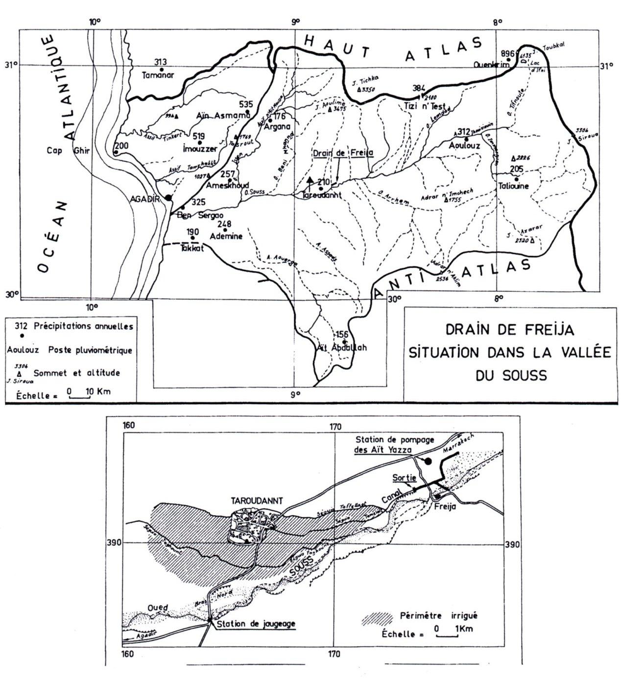 Situation du drain dans la vallée du Souss