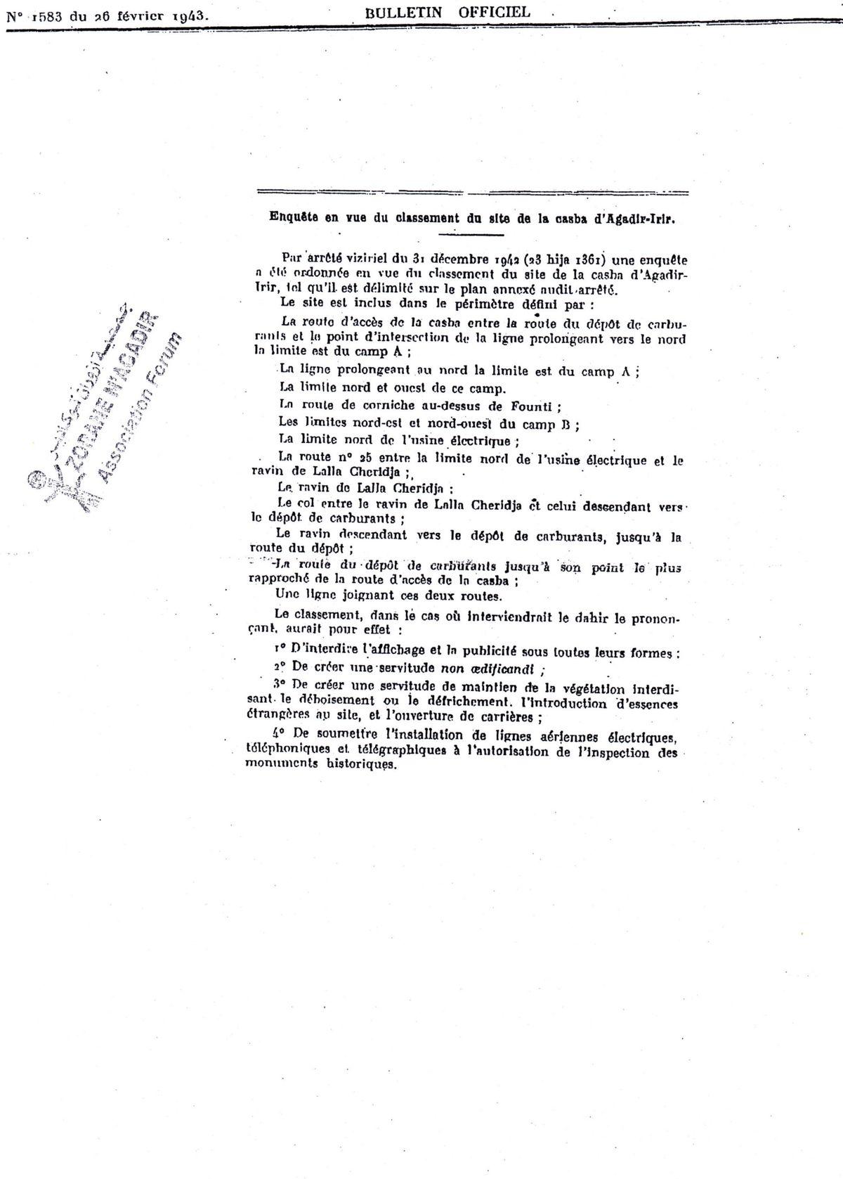 """Enquête en vue du classement de la """"Casbah d'Agadir-Irir"""""""