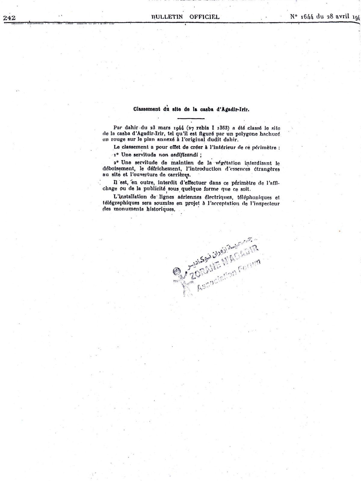 "Classement du site de la ""casba d'Agadir-Irir"""