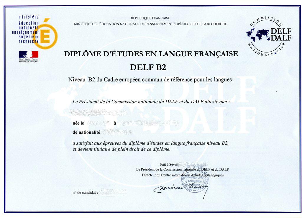 """Résultat de recherche d'images pour """"diplome delf b2"""""""