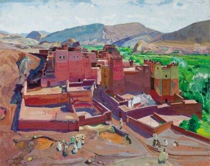 Jacques MAJORELLE (1886-1962) La Kasbah de Tazouda, 1949 Gouache