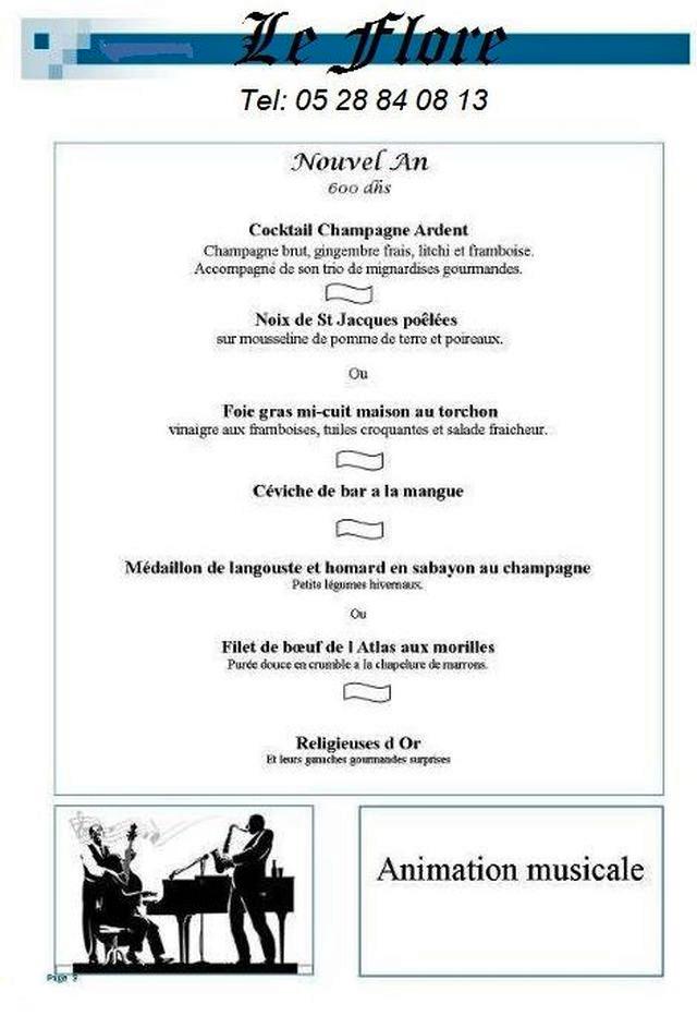 Les menus de no l et du nouvel an au flore agadir blog - Idees jour de l an 2014 ...