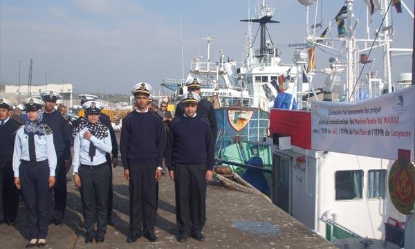 La mutualisation des moyens se concrétise déjà par la présence de stagiaires des trois ITPM concernés par cette entente à bord du navire école Al-Manar et qui vont réaliser une opération de pêche au large d'Agadir. Ph : MAP