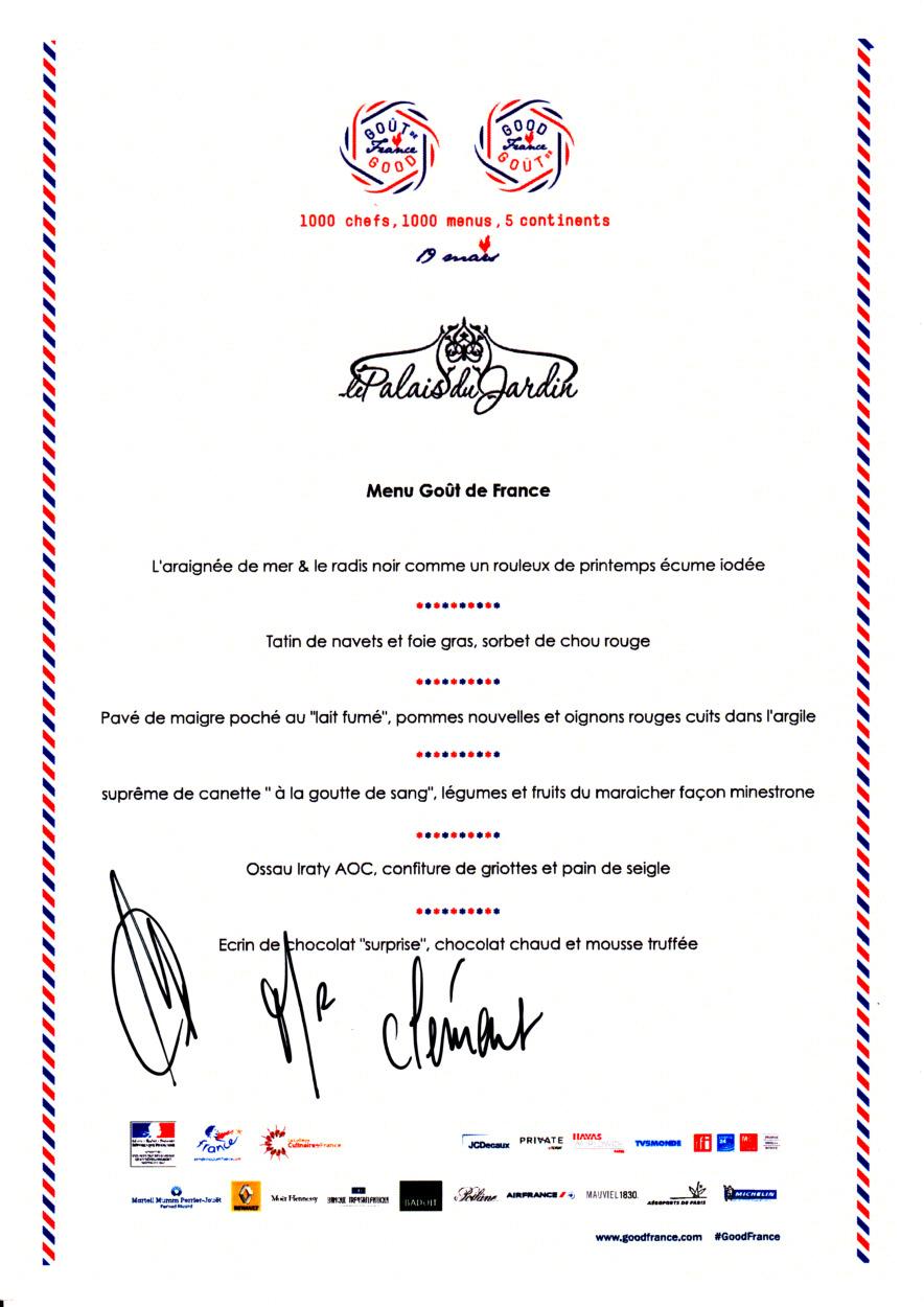 Le menu signé par le chef
