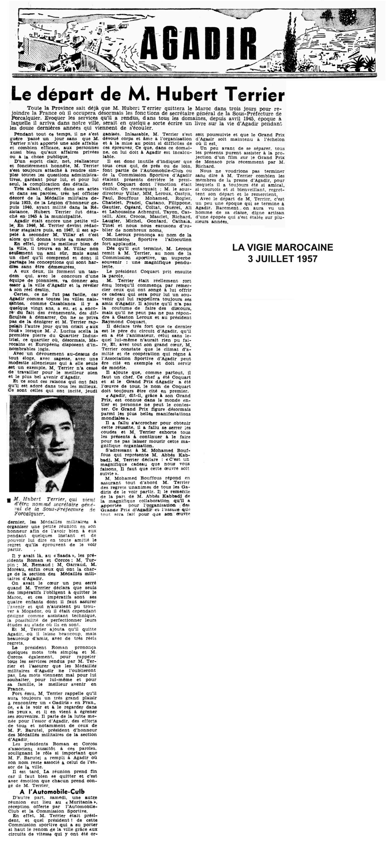 article La Vigie Marocaine- départ