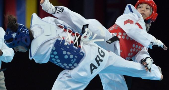 La taekwondoïste marocaine Sanaa Atabrour (-49 kg), lors des Jeux olympiques de Londres en 2012. Crédit : AFP